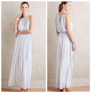 Anthro Kas New York Blue White Pleated Dress